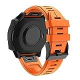 Für Garmin Forerunner 945 Armband,Colorful Easy Fit 22mm Silikonband Ersatz Uhrenarmband für Garmin Instinct/Fenix 5/Fenix 5 Plus/Forerunner 935/945 / Approach S60/Quatix 5 Smartwatch (Orange)