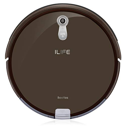 ILIFE A8 Saugroboter | automatischer Roboterstaubsauger ideal für Tierhaare | Fallschutz | Auto Resume | für Laminat, Parkett und Teppich | mit Ladestation | 72mm flach | Beutellos | Timer, braun