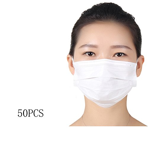 50 PCS Disposable Breathable Anti Dust Earloop Mouth Face Mask White by erioctry