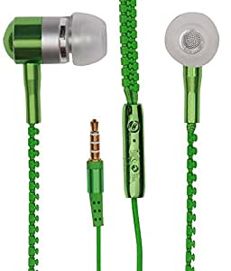 Zipper Style Earphones Headset Handsfree Compatible For Lenovo Vibe P1 Ma 40 -Green