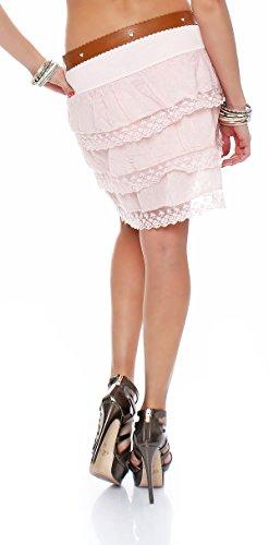 ZARMEXX Gonna estate con fronzoli ZARMEXX donne balza gonna con pizzo minigonna cintura Unica Rosa