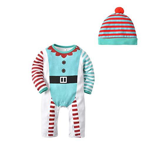 Ansemen Baby Santa Claus Strampler Hut Anzug - Kleinkind Nachtwäsche Langarm Kinder Jumpsuit Weihnachten Baumwolle Pyjamas 1 Jahr - 3 Jahr