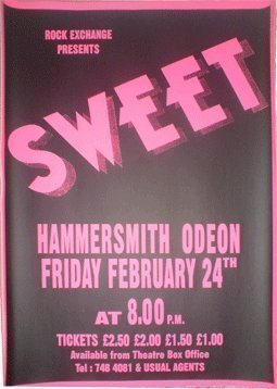 THE SWEET LEVEL HEADED POSTER HAMMERSMITH 1978 by The Sweet