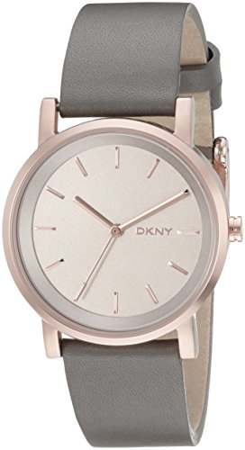 DKNY ny2341 34mm Gold Plated Stainless Steel Case Grey Calfskin Mineral Women's Watch