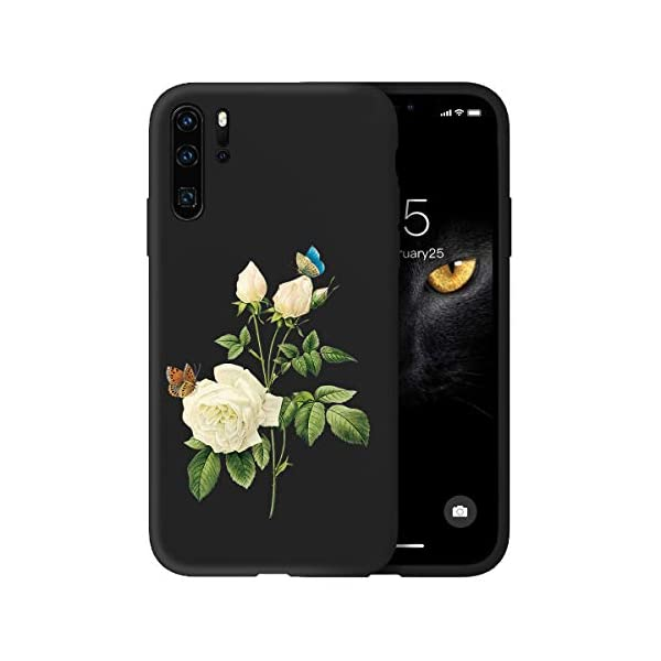 Oihxse Compatible with Huawei P20 Case with Fashion Design, Soft TPU Ultra Thin Black Matte Finish [Anti-Fingerprint] Drop Protection Back Cover Shell Skin for Huawei P20-White Rose Oihxse 🦜【Ultra-Thin & Slim Fit】Ultra-Slim design snugly fit for your Huawei P20 to bring [Sleek Look], [Stylish Charming] and [Great in-hand Feeling] due to the process with matte finish compliment with fashion pattern on the mobile phone case back-black colour. 🦜【Support Wireless Charge】With precision cutouts of the Huawei P20, you can easy access to headphone jack, charger port, key mute, speakers, audio ports and buttons without the interference of [WiFi Reception], [Signal Reception], [Wireless Charging Performance], etc. 🦜【Anti-Fingerprint & Non-Fade Material】Crafted with soft anti-yellowing and non-fade TPU material with red frosted finish to provide you fingerprint resistant, anti-slip, daily scratches, bumps, drops and other daily damages. 1