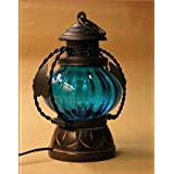CLASSIC SHOPPE Wooden Small Blue Decorative Electric Lamp / Electric Laltern