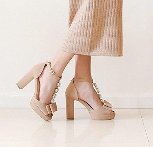 MissSaSa Sandales Femmes Lanière en T Chaussures Talons Hauts Bout Carré abricot