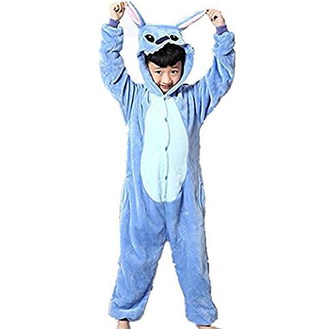 Padgene Pyjama Combinaison Animaux En Flanelle Cosplay Costume Déguisement Halloween Slipper Pantoufle Unisexe Enfant - Bleu - Taille 8-9 ans(stature