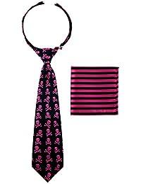 Corbata Canacana, con nudo integrado, diseño de calaveras y rayas, para niños