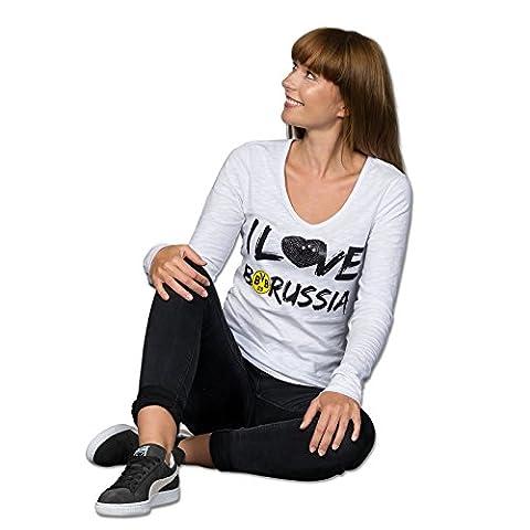 I Love-Langarmshirt mit Pailetten für Frauen Grau (Silbergrau) XL