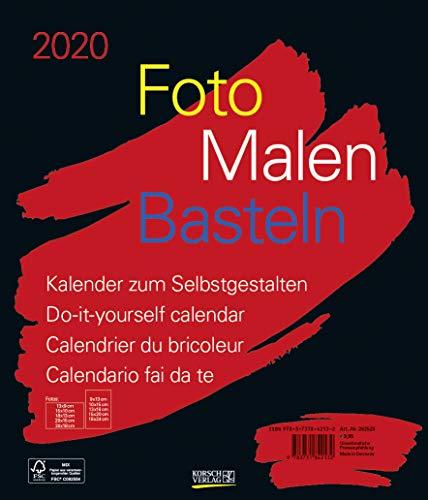 Foto-Malen-Basteln Bastelkalender schwarz groß 2020: Fotokalender zum Selbstgestalten. Do-it-yourself Kalender mit festem Fotokarton. Format: 30 x 35 cm