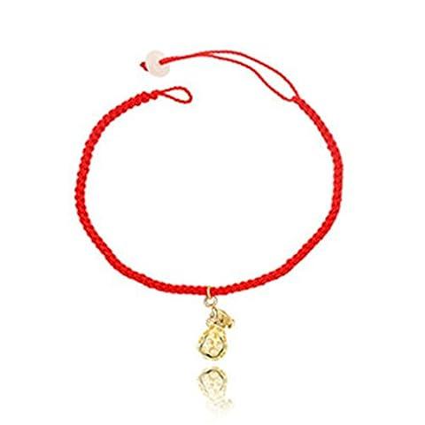 Beydodo Bracelet en Acier Inoxydable Pour les Femmes(Link-Bracelets),Crystal Rouge Rope Sac à Main Porte-Bonheur Rose Or Oxyde de Zirconium 17CM