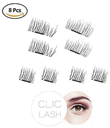 Magnetische Wimpern 3D CLIC LASH (Glamour Look Long Lashes) - selbstklebende Magnet Wimpern – magnetisch wiederverwendbar Wimpern-Verlängerung ohne Kleber künstliche falsche Wimpern magnetic eyelashes