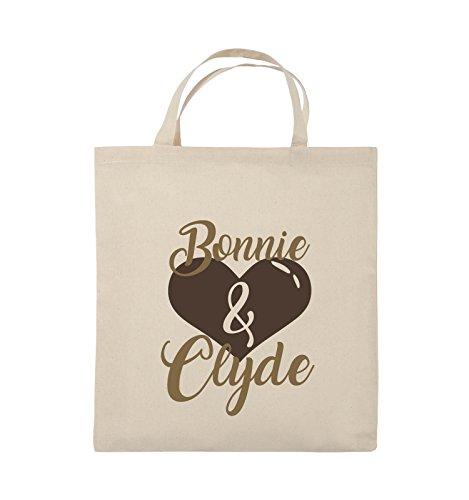 Comedy Bags - Bonnie & Clyde - HERZ MOTIV - Jutebeutel - kurze Henkel - 38x42cm - Farbe: Schwarz / Weiss-Neongrün Natural / Hellbraun-Dunkelbraun