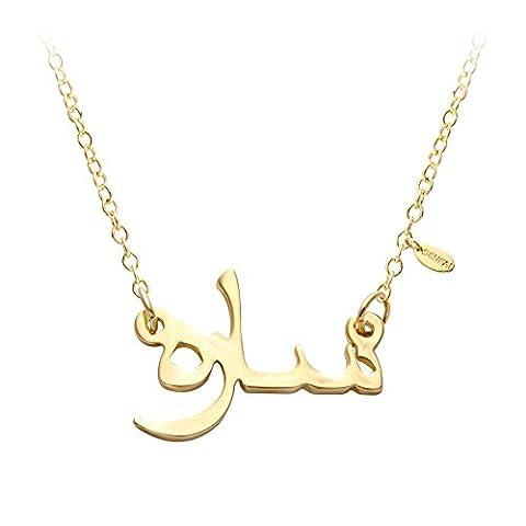 SENFAI 2 Colors Arabic Name Necklace,elegant Monogram Pendant Necklace Initial Letter Jewelry (Gold color)
