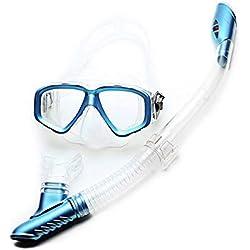 Plongée- Masque de plongée avec Tube respiratoire pour Adultes, Miroir Double Face Miroir Grenouille Miroir à Sec Complet Snorkeling Deux pièces Wear Port Confortable (Color : Blue)
