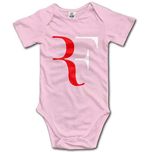 Abigails Home RF Logo Roger Federer Neugeborenes Baby Strampler Kurzarm-Overall für Kleinkinder (2 t, Pink) - Fleece Baby Sleeper