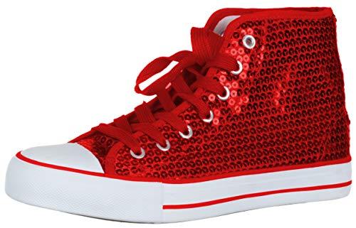 Brandsseller Damen Sneaker Pailletten Halbhoch/Damenschnürer/Damenboots - (39 EU, Rot) (Glitzer Stiefel Schwarze)
