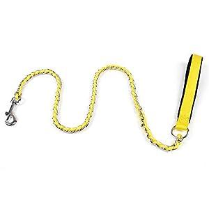 Alapet Laisse de chien jaune en fer chromé en nylon, chaîne en fer pour morsure résistante, poignée en coton doux à l'intérieur, mains confortables et confortables, chaîne solide et durable, aucune ro