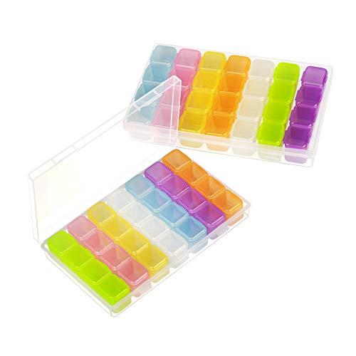 SEELOK 2er 28 Fächer Kunststoff Dosen, Diamant Stickerei Sortierbox in Stabiler Aufbewahrungbox für Perlen Nailart Schmuck Organizer mit Etikette (mehr farbig)