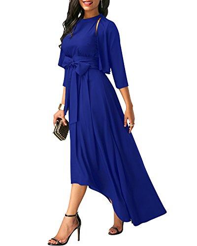 SOLERSUN Sommerkleider für Frauen, Klassische Formale Strickjacke + Gürtel + Kleid Damen Halfter Kleid Vintage Blau M Blaue Formale Kleid