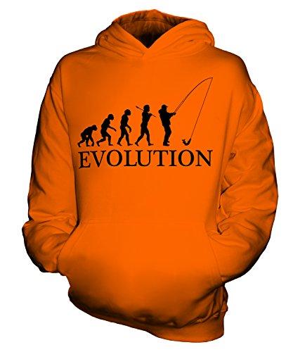 CandyMix Angeln Fischfang Evolution Des Menschen Unisex Kinder Jungen/Mädchen Kapuzenpullover, Größe 12-13 Jahre, Farbe Orange