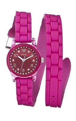 Guess W65023L3 de cuarzo para mujer con correa de caucho, color rosa