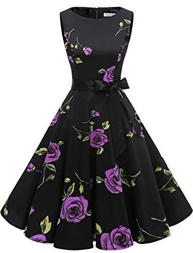 Rosen Langes Kleid (Gardenwed Damen 1950er Vintage Cocktailkleid Rockabilly Retro Schwingen Kleid Faltenrock Purple Rose 2XL)