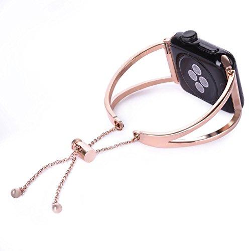 Apple Correa de reloj 38MM, iWatch Serie 3 38MM Pulsera para Mujeres, Correas de reloj de lujo para Apple Serie 3/2/1 Pulsera Acero inoxidable, Correas de repuesto Reloj inteligente Correa para Apple Watch - Oro rosa