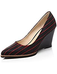 Ximu Damenschuhe New Slope Shallow Klassische Streifen Spitz High Heels Sommer Sandalen Pump 8.5cm