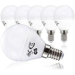 Bombillas LED E14 I Foco LED I Kit de 5 unidades I Color de la luz blanco cálido I Sustituye focos halógenos de 40 W I En forma de gota I 230 V I 5 x 5 W I Ø 45 mm