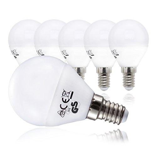 Foto de Bombillas LED E14 I Foco LED I Kit de 5 unidades I Color de la luz blanco cálido I Sustituye focos halógenos de 40 W I En forma de gota I 230 V I 5 x 5 W I Ø 45 mm