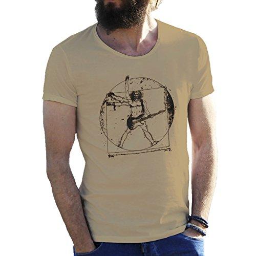 Banksy Da Vinci Vitruvian Man Rock Guitar Cool Art T-shirt maglietta per uomo Sabbia Beige