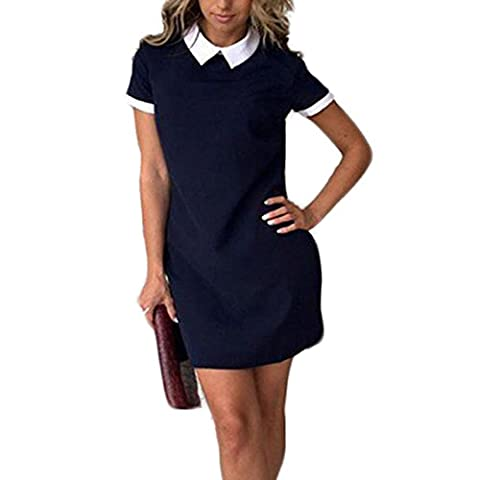 Femme col Doll Revers Manches Courtes Mode Amincissant Couleur Pure Mini Robe Robe Casual Shirt Robe Robe d'été Party Robe (L, Bleu marine)