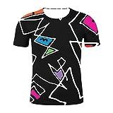 Lazzboy Uomo T-Shirt 3D Graphic Many Pattern Stampare Manica Corta Casual T-Shirt Maschile Larga con Taglio Largo(S,Nero-Graffiti)