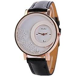WINWINTOM Leather Quicksand Rhinestone Quartz Bracelet Wrist Watch Black