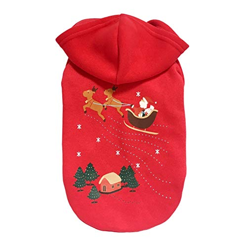 Weihnachtsbaum Muster Kostüm - Maritown Weihnachtshaustier-Hundekleidung, Weihnachtsmann-Weihnachtsbaum-Kostüm Hoodie-Samt-Mantel-Overall-kleine Hundekleidung Winter-warme Kleidung