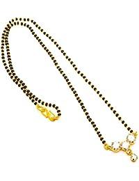 Jewar Mandi Mangalsutra Pendant One Gram Gold Plated Ad Gemstones Black Crystal Moti Jewelry 7618 Mangalsutra...