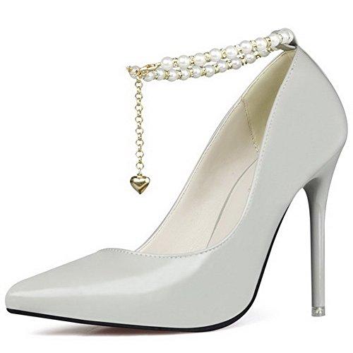AgeeMi Shoes Femme Matière Souple Stylet Pointu Couleur Unie Chaussures Légeres Gris-Bijou