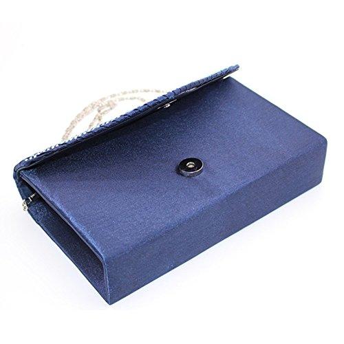 Damen Clutch Ulanda Satin Strass Abendtasche Frauen Handtasche Umhängetaschen Abend Hochzeit Braut Partei Abschlussball Geldbörse Umschlag Schultertasche Dunkelblau