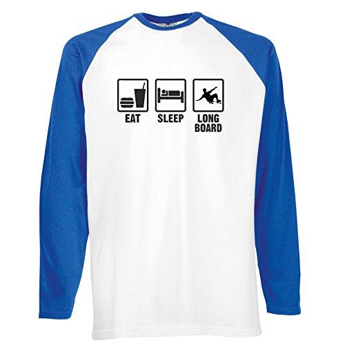 Brand88 - Eat Sleep Longboard, Langarm Baseball T-Shirt Weiss & Blau