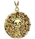 Fluch der Karibik Inspired Gold-Ton Münze Aztec Schädel-Anhänger-Halskette