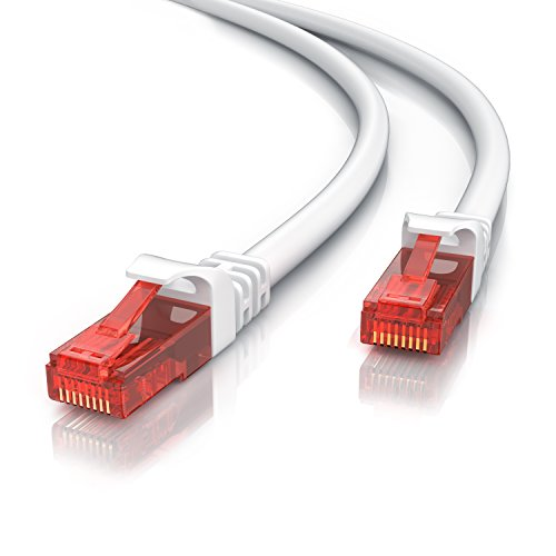 10m - CAT.6 Ethernet Gigabit Lan Netzwerkkabel (RJ45) | 10/100/1000Mbit/s | Patchkabel | UTP | kompatibel zu CAT.5/CAT.5e/CAT.7 | Switch/Router/Modem/Patchpannel/Access Point/Patchfelder | weiß