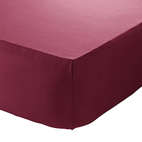 Catherine Lansfield Non Iron Percale Double Fitted Sheet - Red