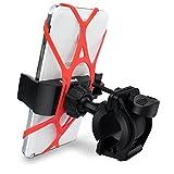 Lieferumfang: 1x Fahrrad Handyhalterung, 1x Rote Silikonband, 1x Schwarze Silikonband  Fahrradhalterung Halteklamme erweiterbar 54 - 84 mm, Tiefe 20 mm,geeignet für den meisten Smartphones. Fahrradhalterung Lenkerhalter bietet 3 Einstellung für versc...