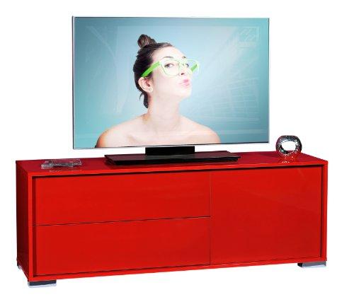Meuble TV Rouge 1 porte 2 tiroirs - NAVO-L 140 x l 42 x H 52