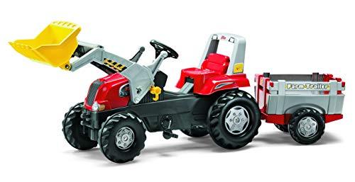 Trettraktor mit Anhänger Rolly Toys 811397 rollyJunior RT | Traktor mit Frontlader | Lader und Anhänger rollyFarm Trailer | Flüsterreifen u Sitzverstellung | Motorhaube öffenbar | ab 3 Jahren | Farbe rot/schwarz/grau