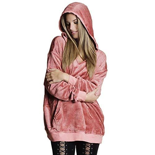 (Qiusa Womens Soft Velvet Kapuzenpullover Pullover Hoodie Sweatshirt lose Mantel Jacke (Farbe : Rosa, Größe : Small))