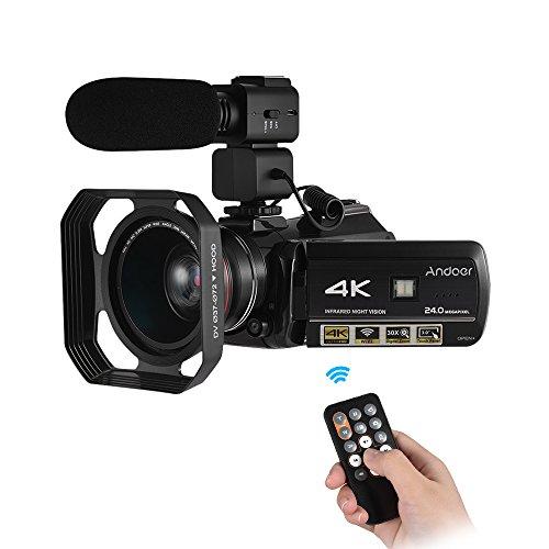 Andoer ac34k uhd telecamera video digitale 24mp videocamera registratore dv 30x zoom wifi connessione ir visione notturna 3.0lcd schermo tattile