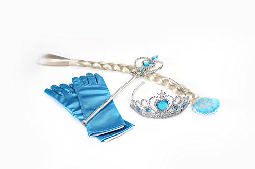 ASVP Shop Queen Elsa Prinzessin Anna Zauberstab, Strass Tiaras, Haar Crown & Handschuh Girl Geschenk-Set Gr. Small, Four Piece Set